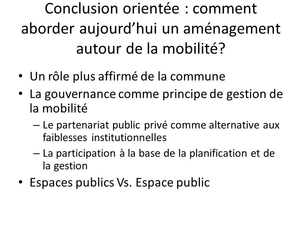 Conclusion orientée : comment aborder aujourdhui un aménagement autour de la mobilité? Un rôle plus affirmé de la commune La gouvernance comme princip