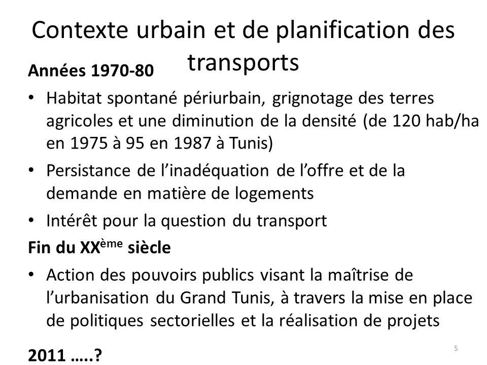 Contexte urbain et de planification des transports Années 1970-80 Habitat spontané périurbain, grignotage des terres agricoles et une diminution de la