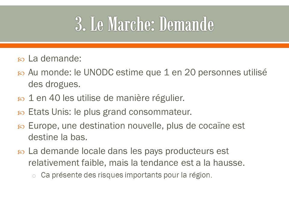 La demande: Au monde: le UNODC estime que 1 en 20 personnes utilisé des drogues.