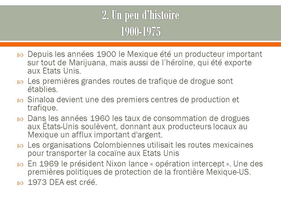 Depuis les années 1900 le Mexique été un producteur important sur tout de Marijuana, mais aussi de lhéroïne, qui été exporte aux Etats Unis.