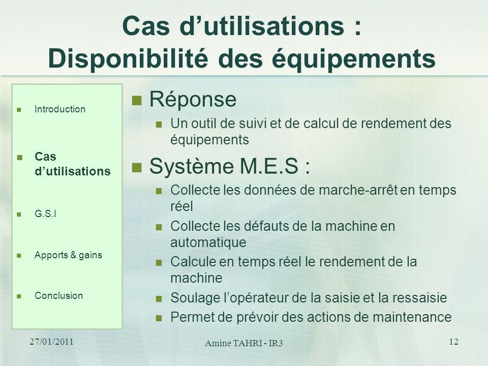 Cas dutilisations : Disponibilité des équipements Réponse Un outil de suivi et de calcul de rendement des équipements Système M.E.S : Collecte les don