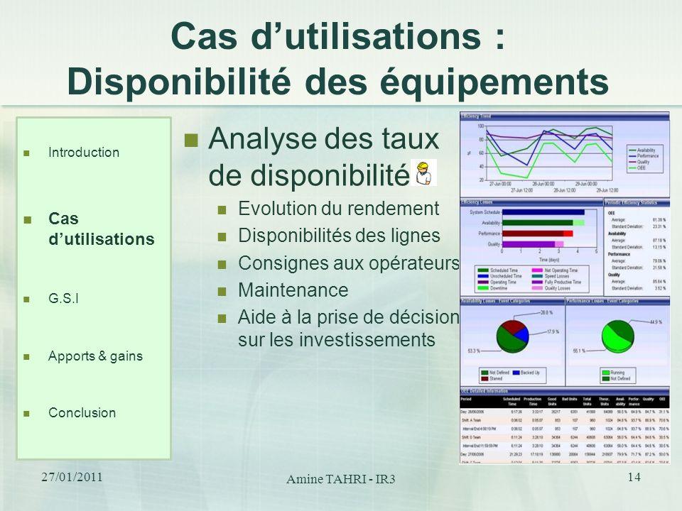 Cas dutilisations : Disponibilité des équipements Analyse des taux de disponibilité Evolution du rendement Disponibilités des lignes Consignes aux opé