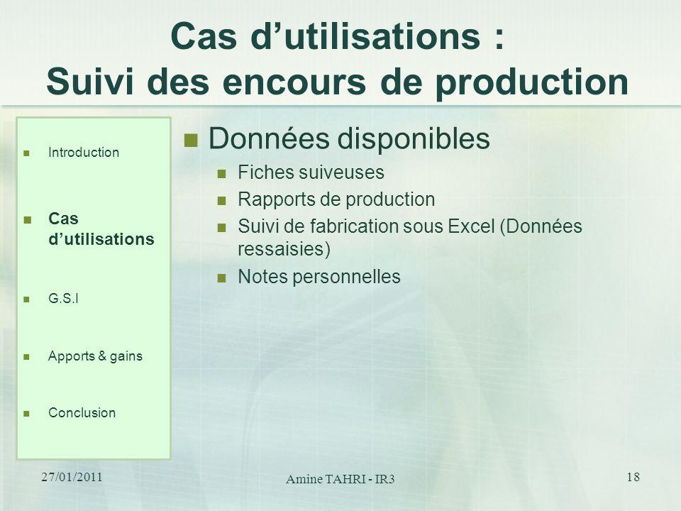 Cas dutilisations : Suivi des encours de production Données disponibles Fiches suiveuses Rapports de production Suivi de fabrication sous Excel (Donné