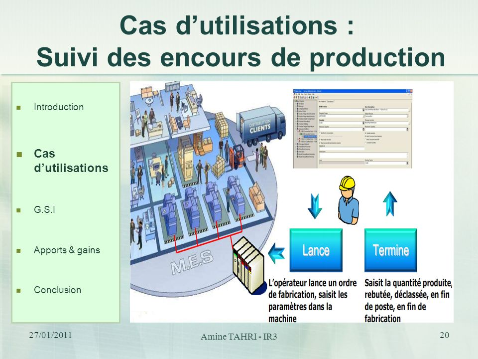 Cas dutilisations : Suivi des encours de production Introduction Cas dutilisations G.S.I Apports & gains Conclusion 20 27/01/2011 Amine TAHRI - IR3