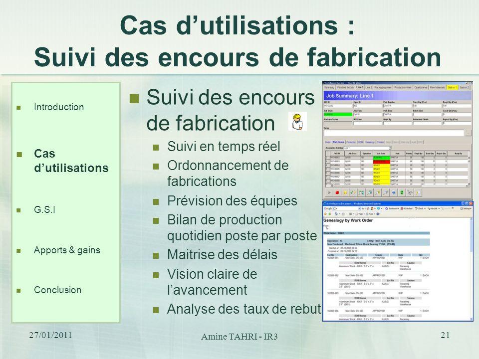 Cas dutilisations : Suivi des encours de fabrication Suivi des encours de fabrication Suivi en temps réel Ordonnancement de fabrications Prévision des