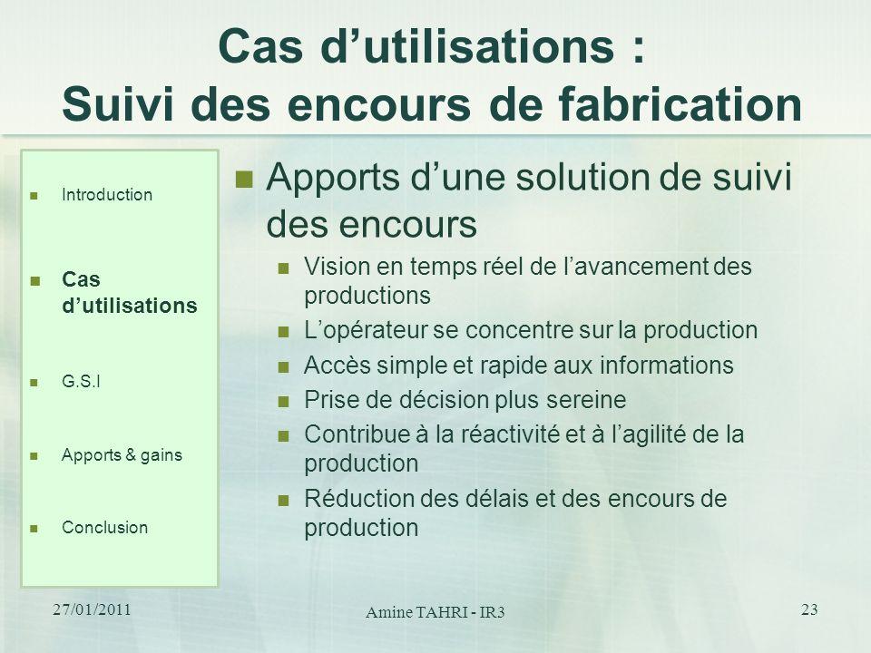 Cas dutilisations : Suivi des encours de fabrication Apports dune solution de suivi des encours Vision en temps réel de lavancement des productions Lo