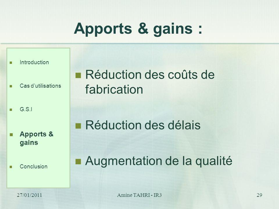 Apports & gains : Réduction des coûts de fabrication Réduction des délais Augmentation de la qualité Introduction Cas dutilisations G.S.I Apports & ga