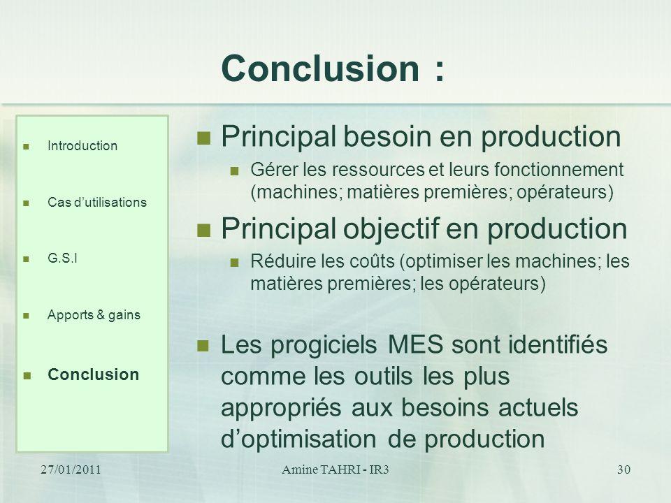 Conclusion : Introduction Cas dutilisations G.S.I Apports & gains Conclusion 30 Principal besoin en production Gérer les ressources et leurs fonctionn