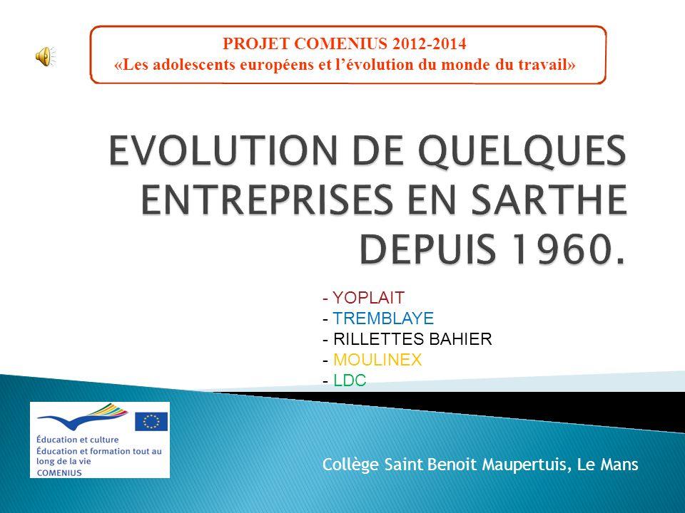 PROJET COMENIUS 2012-2014 «Les adolescents européens et lévolution du monde du travail» - YOPLAIT - TREMBLAYE - RILLETTES BAHIER - MOULINEX - LDC Coll