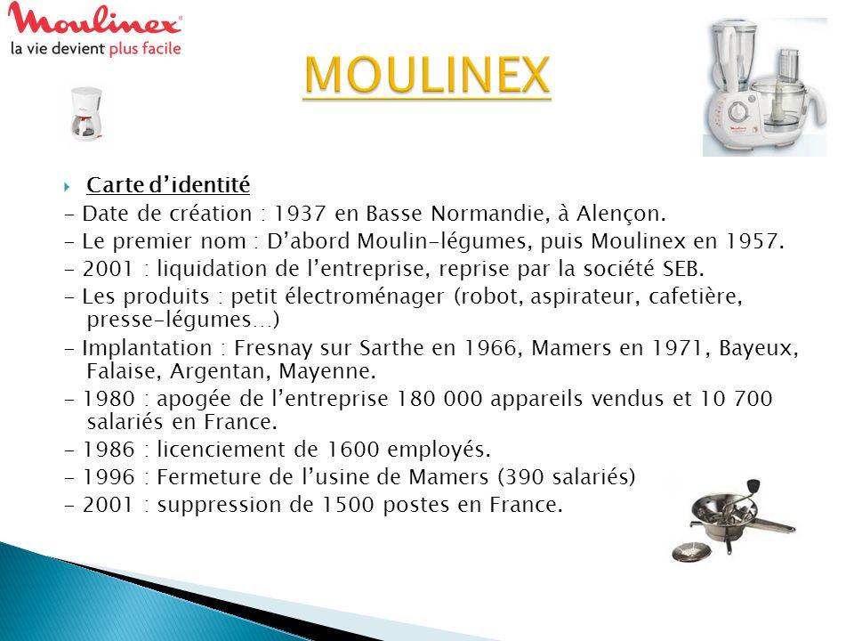 Carte didentité - Date de création : 1937 en Basse Normandie, à Alençon. - Le premier nom : Dabord Moulin-légumes, puis Moulinex en 1957. - 2001 : liq