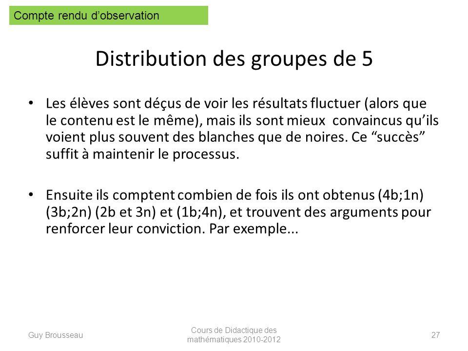 Distribution des groupes de 5 Les élèves sont déçus de voir les résultats fluctuer (alors que le contenu est le même), mais ils sont mieux convaincus