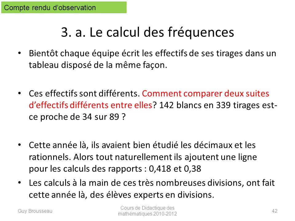 3. a. Le calcul des fréquences Bientôt chaque équipe écrit les effectifs de ses tirages dans un tableau disposé de la même façon. Ces effectifs sont d