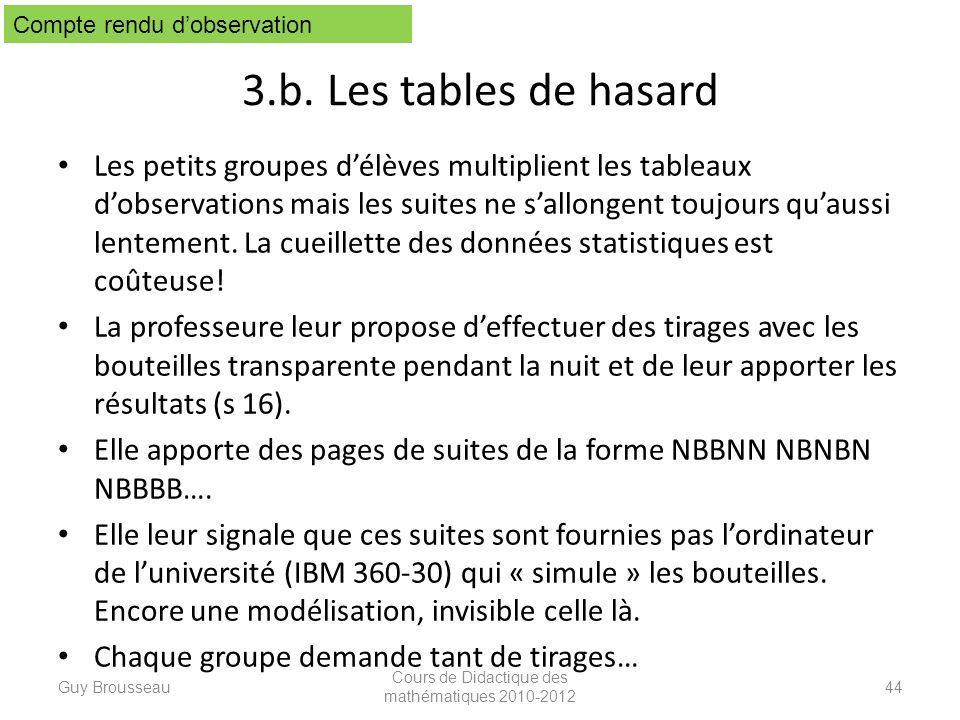 3.b. Les tables de hasard Les petits groupes délèves multiplient les tableaux dobservations mais les suites ne sallongent toujours quaussi lentement.