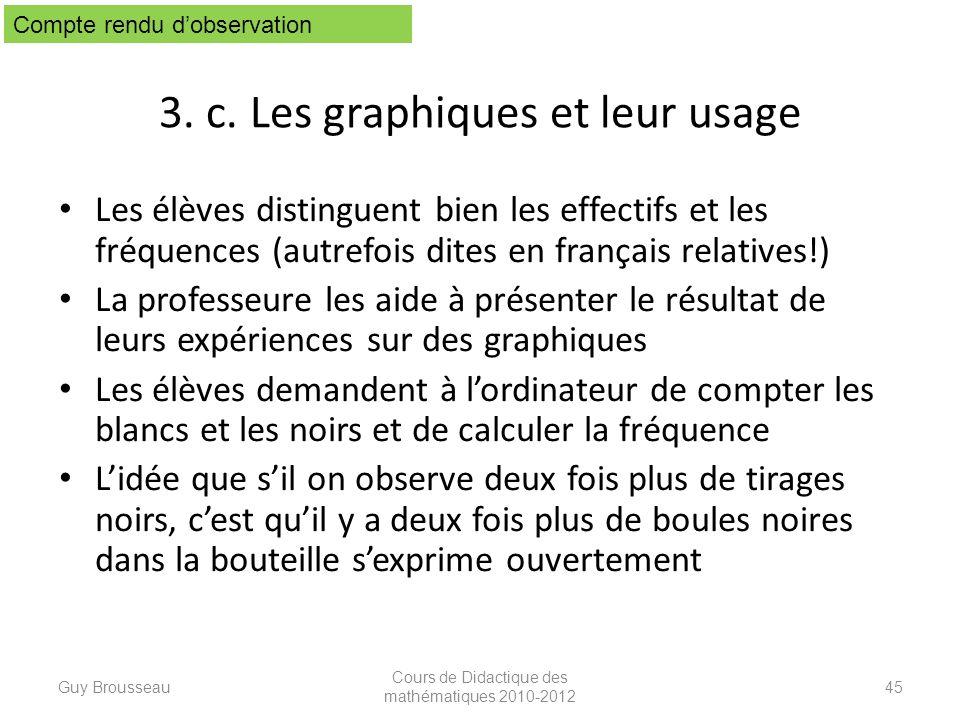 3. c. Les graphiques et leur usage Les élèves distinguent bien les effectifs et les fréquences (autrefois dites en français relatives!) La professeure