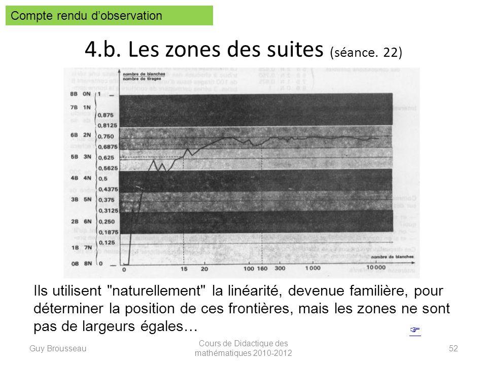 4.b. Les zones des suites (séance. 22) Guy Brousseau Cours de Didactique des mathématiques 2010-2012 52 Compte rendu dobservation Ils utilisent