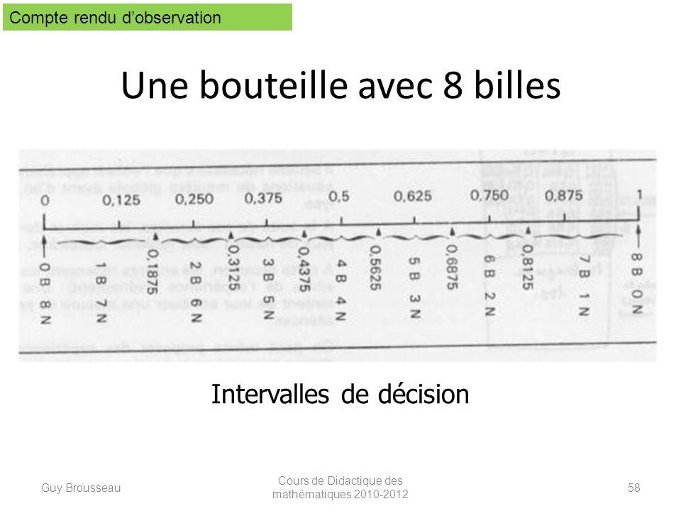 Une bouteille avec 8 billes Guy Brousseau Cours de Didactique des mathématiques 2010-2012 58 Intervalles de décision Compte rendu dobservation