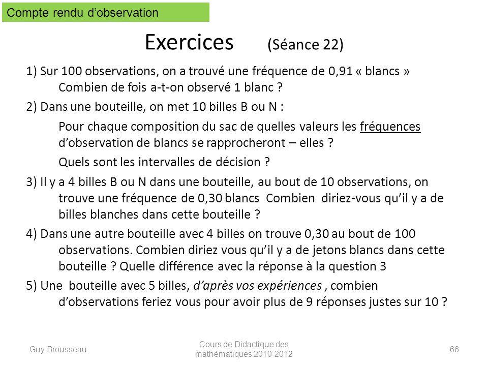 Exercices (Séance 22) 1) Sur 100 observations, on a trouvé une fréquence de 0,91 « blancs » Combien de fois a-t-on observé 1 blanc ? 2) Dans une boute