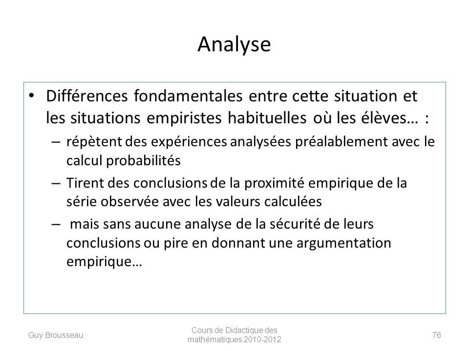 Analyse Différences fondamentales entre cette situation et les situations empiristes habituelles où les élèves… : – répètent des expériences analysées