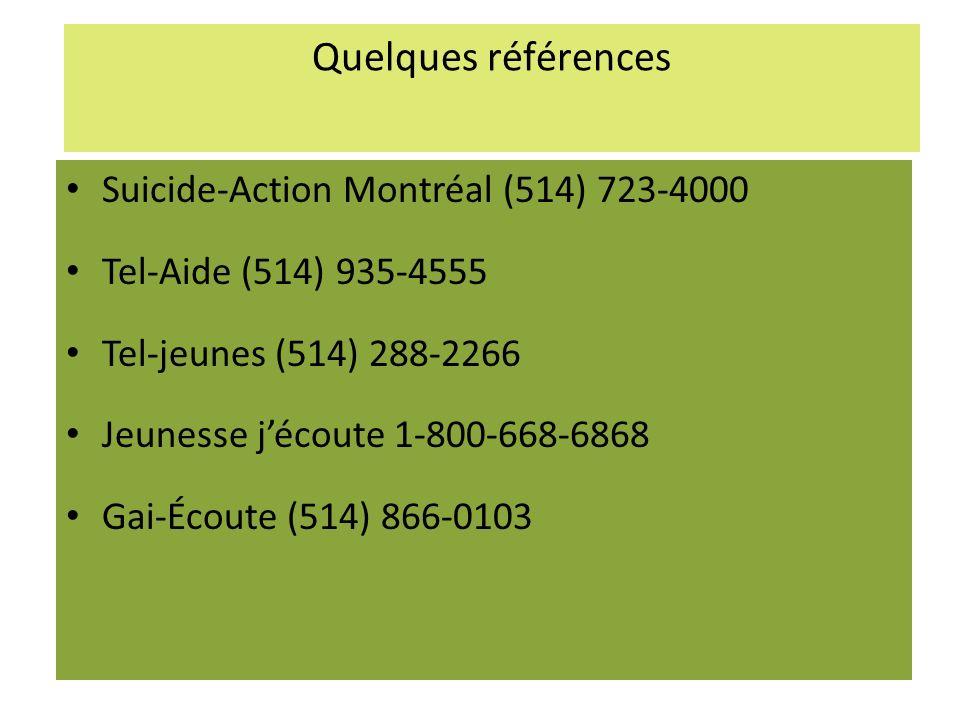 Quelques références Suicide-Action Montréal (514) 723-4000 Tel-Aide (514) 935-4555 Tel-jeunes (514) 288-2266 Jeunesse jécoute 1-800-668-6868 Gai-Écoute (514) 866-0103