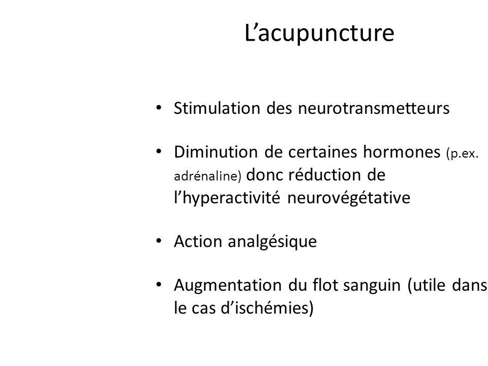 Stimulation des neurotransmetteurs Diminution de certaines hormones (p.ex.