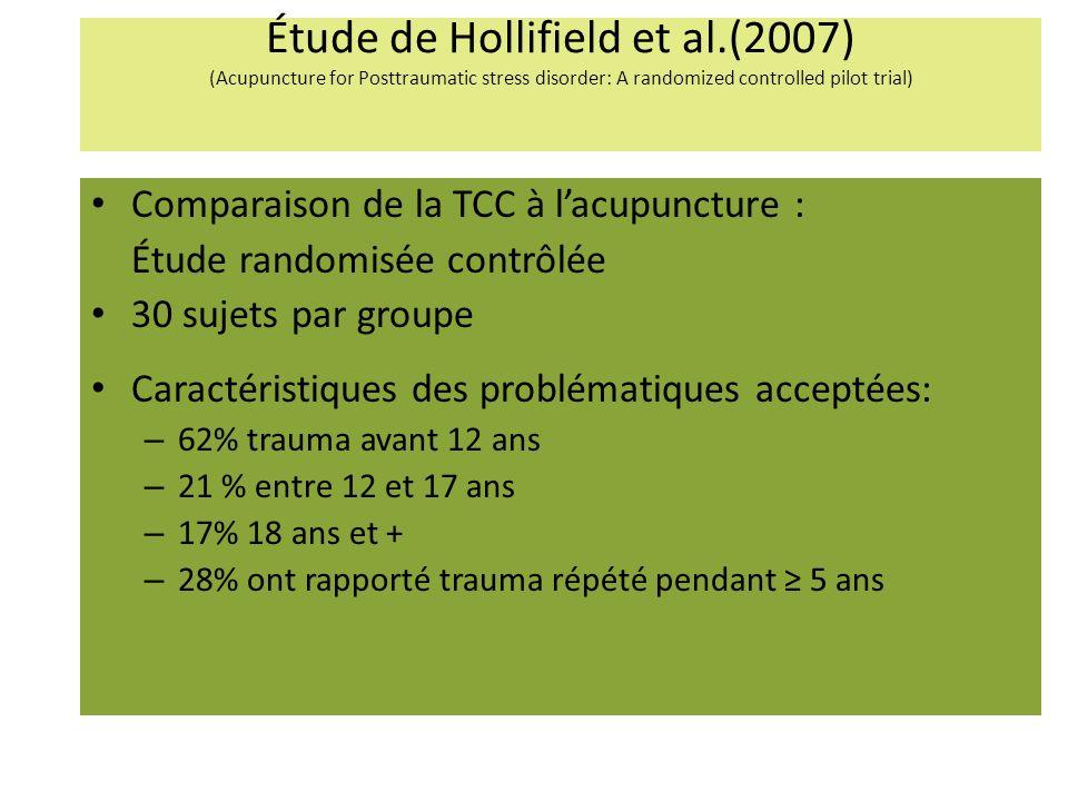 Étude de Hollifield et al.(2007) (Acupuncture for Posttraumatic stress disorder: A randomized controlled pilot trial) Comparaison de la TCC à lacupuncture : Étude randomisée contrôlée 30 sujets par groupe Caractéristiques des problématiques acceptées: – 62% trauma avant 12 ans – 21 % entre 12 et 17 ans – 17% 18 ans et + – 28% ont rapporté trauma répété pendant 5 ans