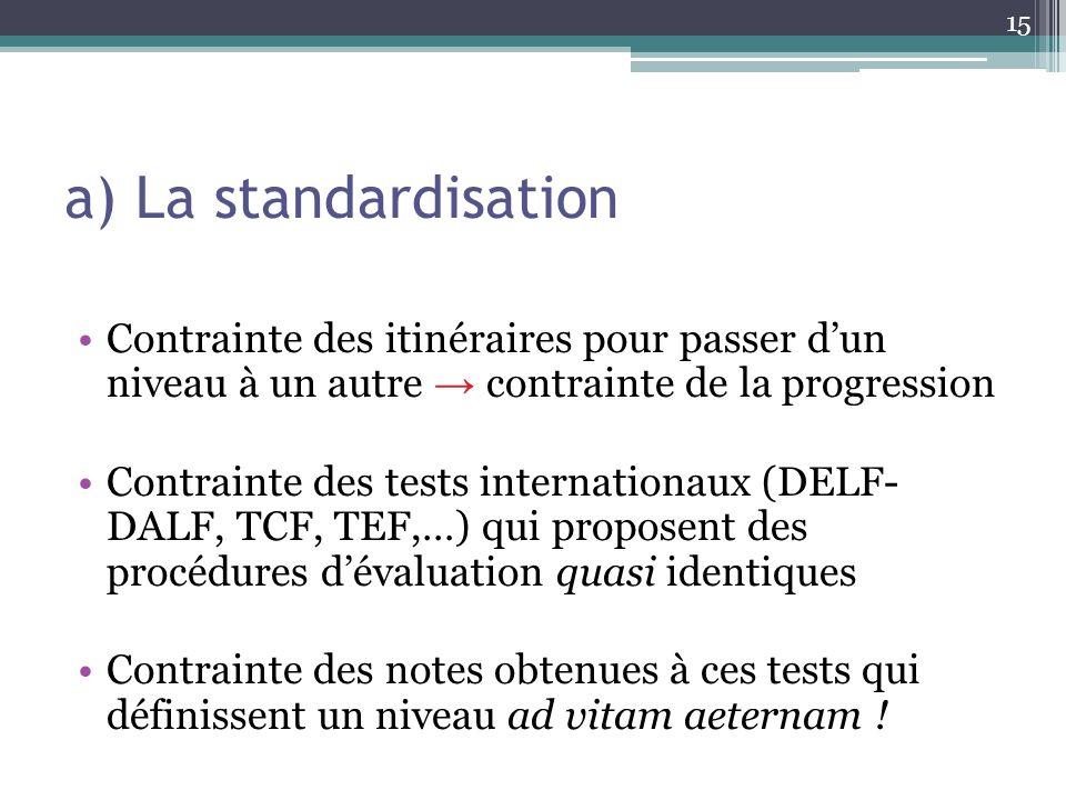 a) La standardisation 15 Contrainte des itinéraires pour passer dun niveau à un autre contrainte de la progression Contrainte des tests internationaux