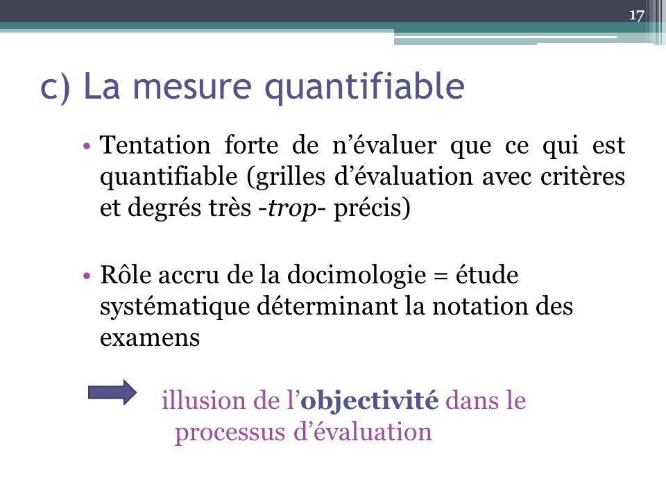 c) La mesure quantifiable Tentation forte de névaluer que ce qui est quantifiable (grilles dévaluation avec critères et degrés très -trop- précis) Rôl