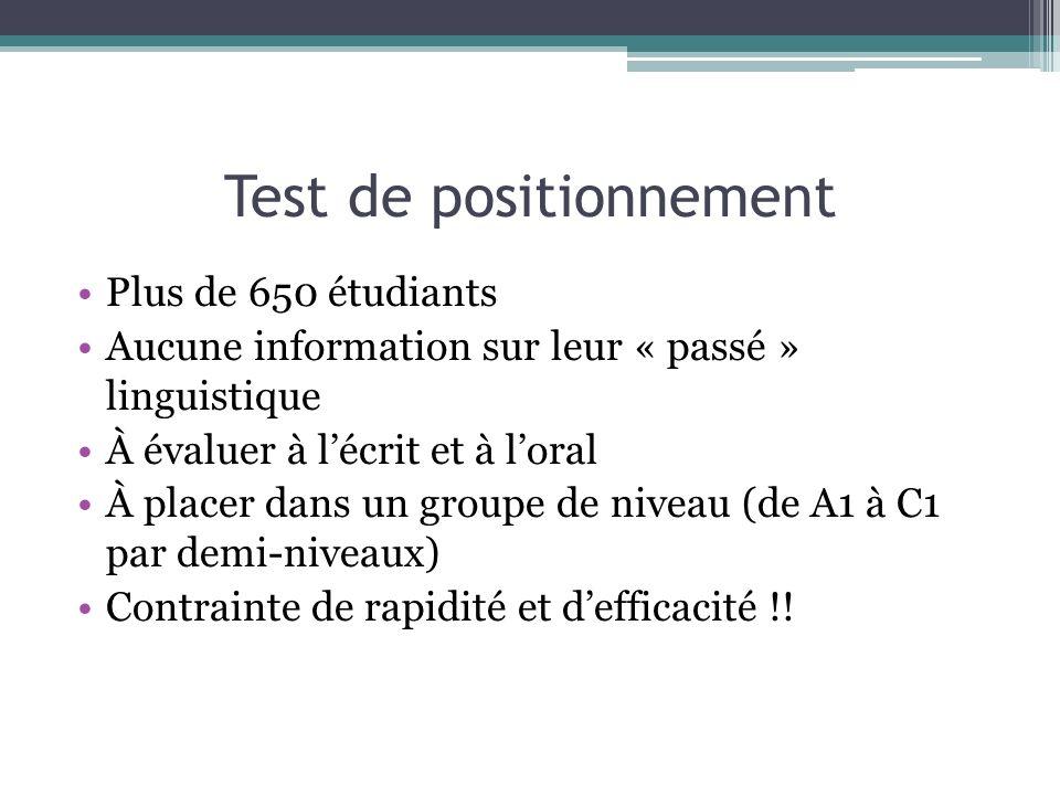 Test de positionnement Plus de 650 étudiants Aucune information sur leur « passé » linguistique À évaluer à lécrit et à loral À placer dans un groupe