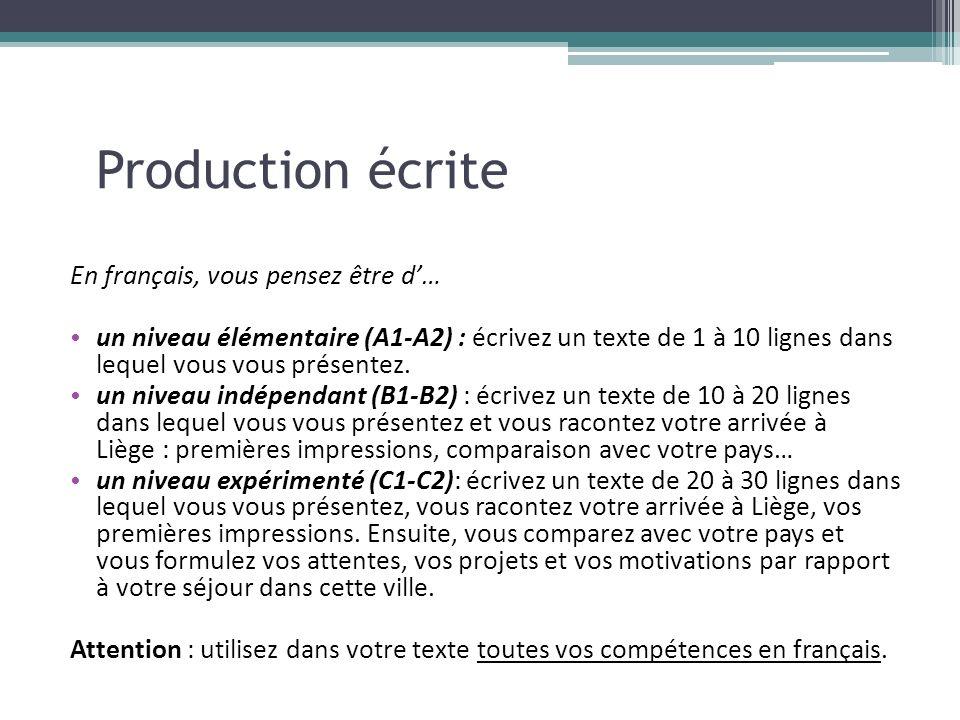 Production écrite En français, vous pensez être d… un niveau élémentaire (A1-A2) : écrivez un texte de 1 à 10 lignes dans lequel vous vous présentez.