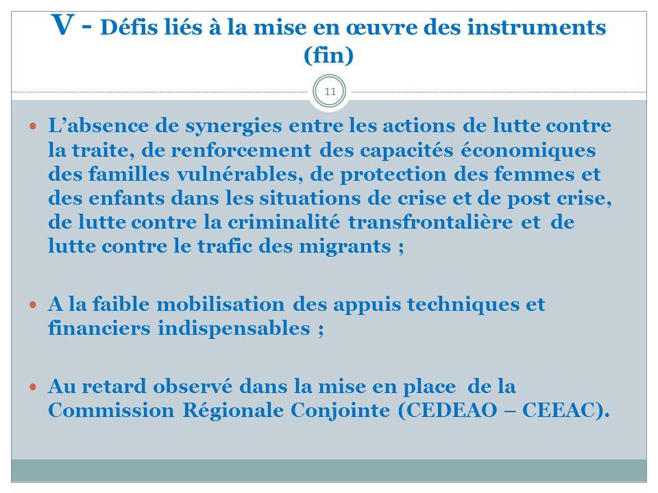 V - Défis liés à la mise en œuvre des instruments (fin) 11 Labsence de synergies entre les actions de lutte contre la traite, de renforcement des capa