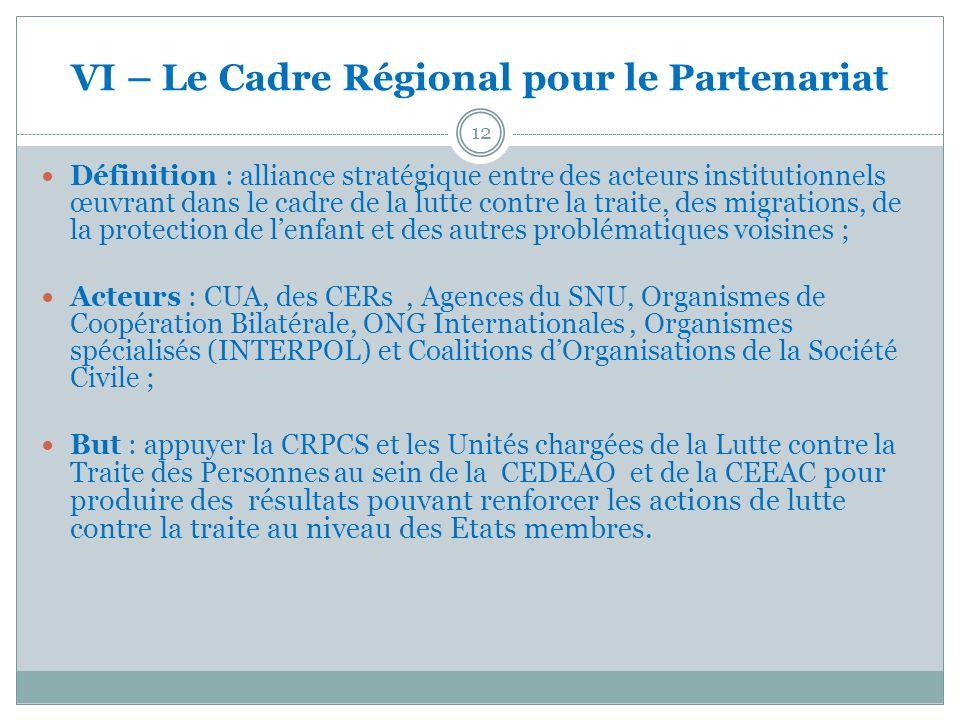 VI – Le Cadre Régional pour le Partenariat 12 Définition : alliance stratégique entre des acteurs institutionnels œuvrant dans le cadre de la lutte co