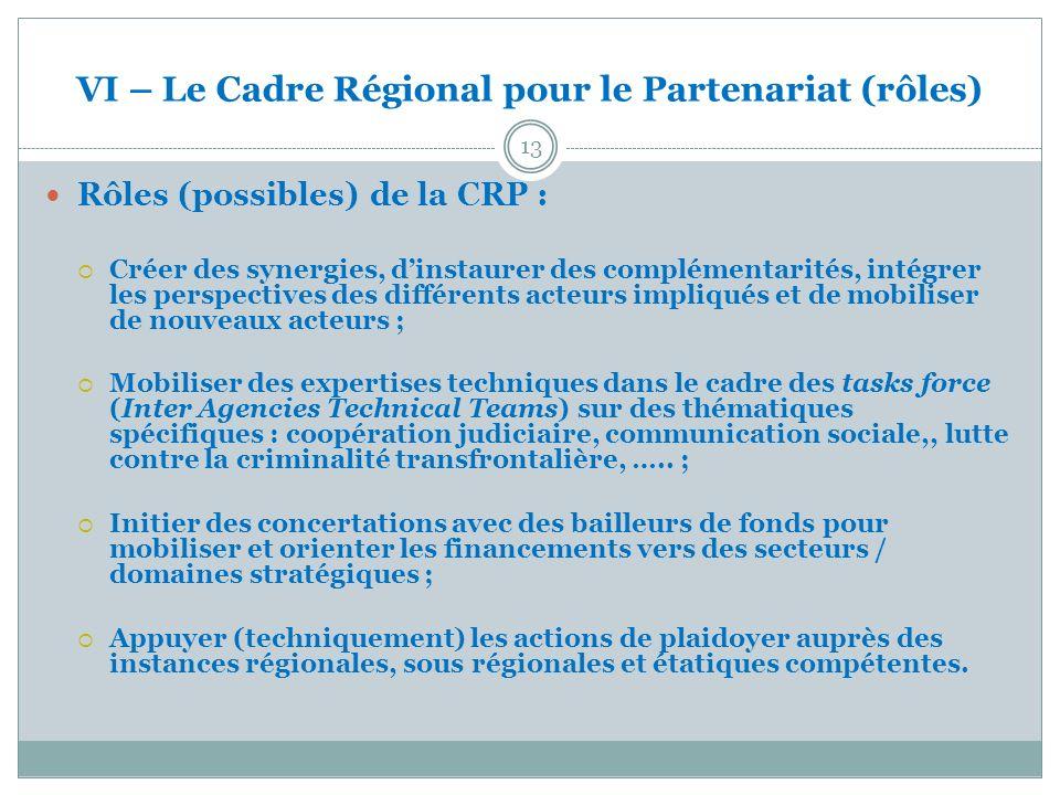 VI – Le Cadre Régional pour le Partenariat (rôles) 13 Rôles (possibles) de la CRP : Créer des synergies, dinstaurer des complémentarités, intégrer les