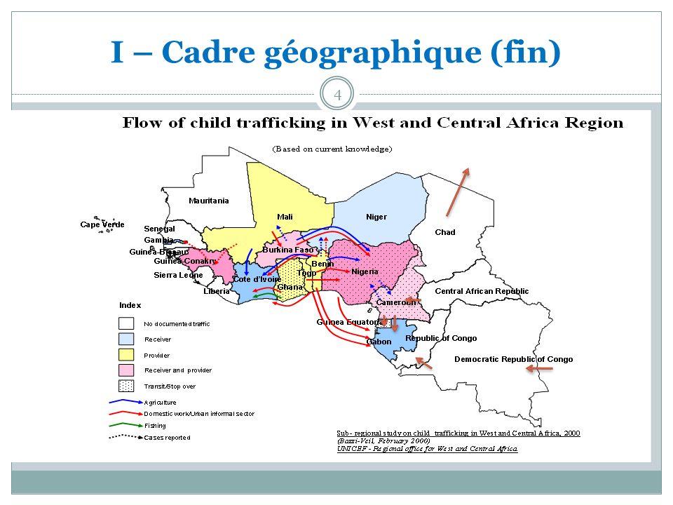 II – Les principales étapes de la lutte contre la traite des personnes en Afrique de lOuest et du Centre Processus conjoint mené avec lappui technique de lUNICEF : Juillet 2006 : adoption des instruments juridiques régionaux : Juillet 2007 : Adoption du plan daction conjoint CEEAC/CEDEAO de lutte contre la traite des personnes ; Octobre 2007 : création des Unités chargées de la Lutte contre la Traite à la Commission de la CEDEAO et au Secrétariat Général de la CEEAC ; Mars 2010 : Lancement du plan daction de la Commission de lUnion Africaine pour la lutte contre la traite des personnes.