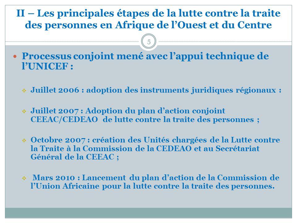 II – Les principales étapes de la lutte contre la traite des personnes en Afrique de lOuest et du Centre Processus conjoint mené avec lappui technique