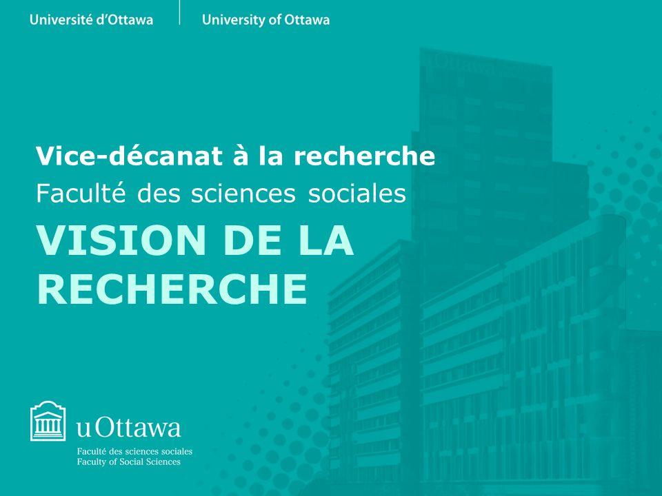 VISION DE LA RECHERCHE Vice-décanat à la recherche Faculté des sciences sociales