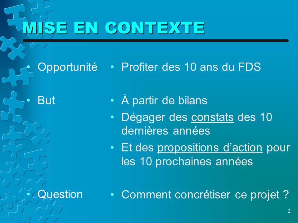 MISE EN CONTEXTE Opportunité But Question Profiter des 10 ans du FDS À partir de bilans Dégager des constats des 10 dernières années Et des propositions daction pour les 10 prochaines années Comment concrétiser ce projet .