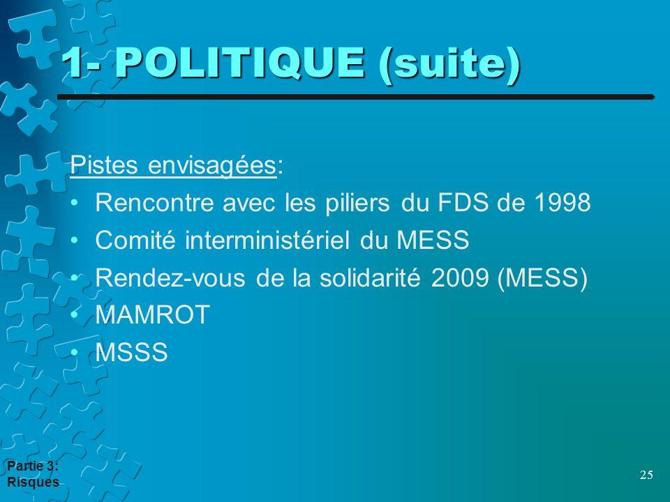 1- POLITIQUE (suite) Pistes envisagées: Rencontre avec les piliers du FDS de 1998 Comité interministériel du MESS Rendez-vous de la solidarité 2009 (MESS) MAMROT MSSS 25 Partie 3: Risques