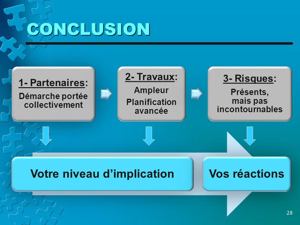 CONCLUSION 28 1- Partenaires: Démarche portée collectivement 2- Travaux: Ampleur Planification avancée 3- Risques: Présents, mais pas incontournables Votre niveau dimplicationVos réactions