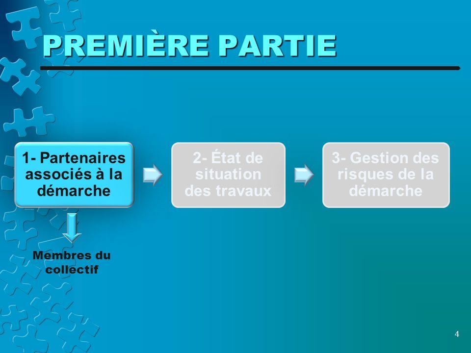 PREMIÈRE PARTIE 4 1- Partenaires associés à la démarche 2- État de situation des travaux 3- Gestion des risques de la démarche Membres du collectif