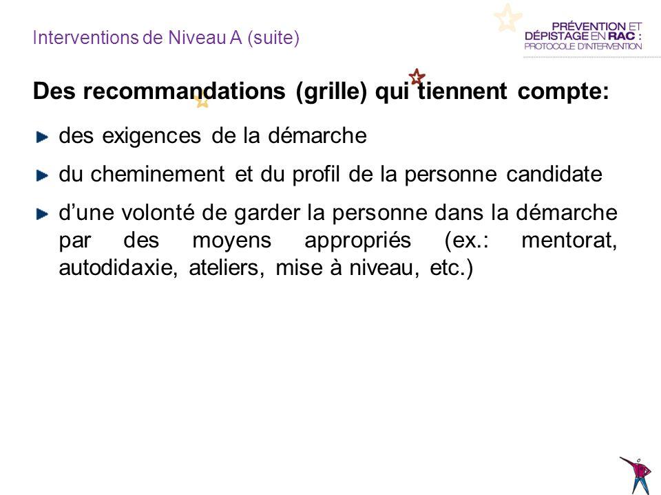 Interventions de Niveau A (suite) Des recommandations (grille) qui tiennent compte: des exigences de la démarche du cheminement et du profil de la per