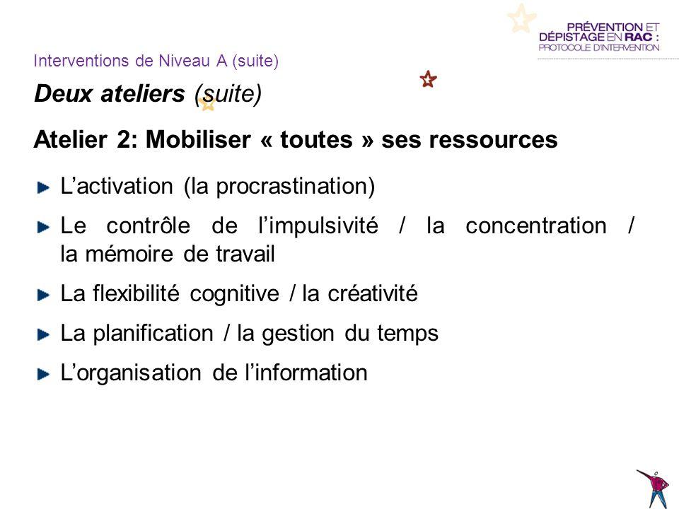 Deux ateliers (suite) Atelier 2: Mobiliser « toutes » ses ressources Lactivation (la procrastination) Le contrôle de limpulsivité / la concentration /