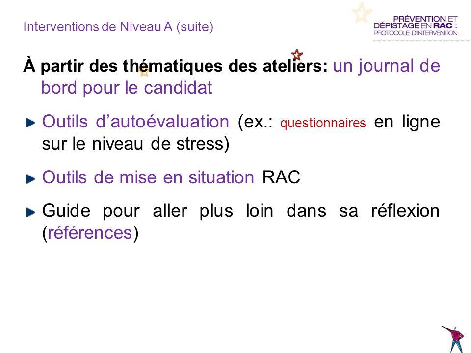 À partir des thématiques des ateliers: un journal de bord pour le candidat Outils dautoévaluation (ex.: questionnaires en ligne sur le niveau de stres