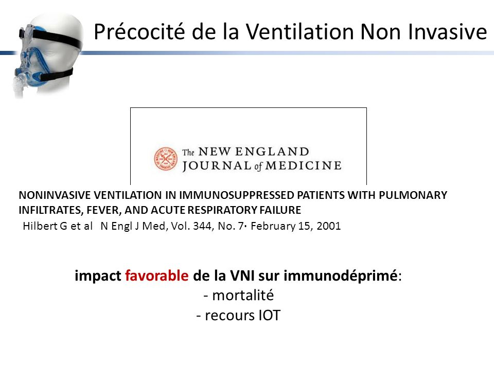 NONINVASIVE VENTILATION IN IMMUNOSUPPRESSED PATIENTS WITH PULMONARY INFILTRATES, FEVER, AND ACUTE RESPIRATORY FAILURE Hilbert G et alN Engl J Med, Vol