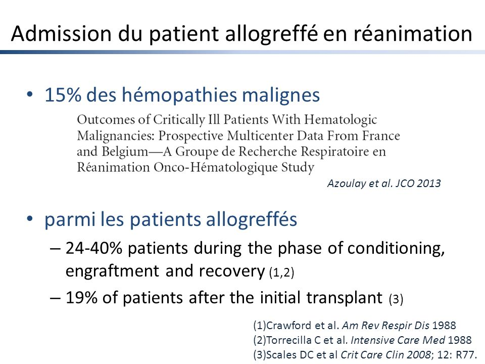 Admission du patient allogreffé en réanimation 15% des hémopathies malignes parmi les patients allogreffés – 24-40% patients during the phase of condi