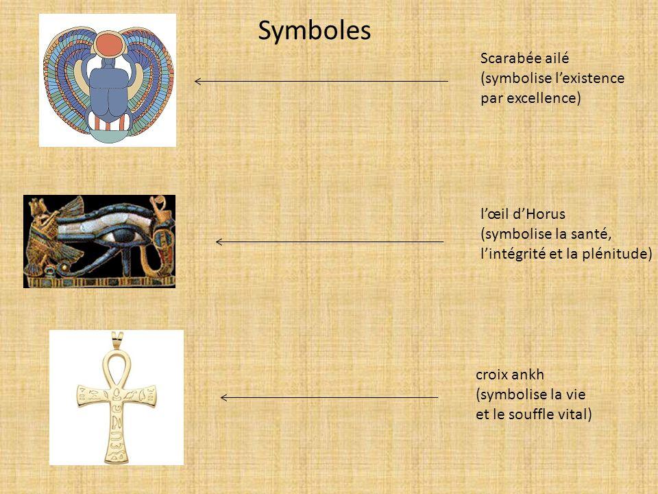 Scarabée ailé (symbolise lexistence par excellence) lœil dHorus (symbolise la santé, lintégrité et la plénitude) croix ankh (symbolise la vie et le so