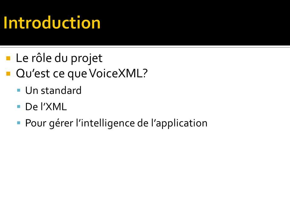 Le rôle du projet Quest ce que VoiceXML.