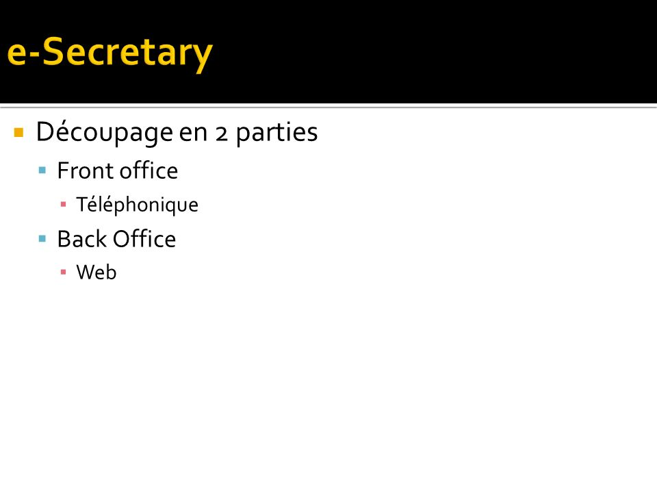 Découpage en 2 parties Front office Téléphonique Back Office Web