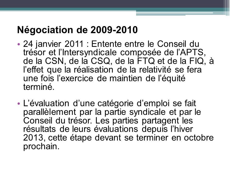 Négociation de 2009-2010 24 janvier 2011 : Entente entre le Conseil du trésor et lIntersyndicale composée de lAPTS, de la CSN, de la CSQ, de la FTQ et de la FIQ, à leffet que la réalisation de la relativité se fera une fois lexercice de maintien de léquité terminé.