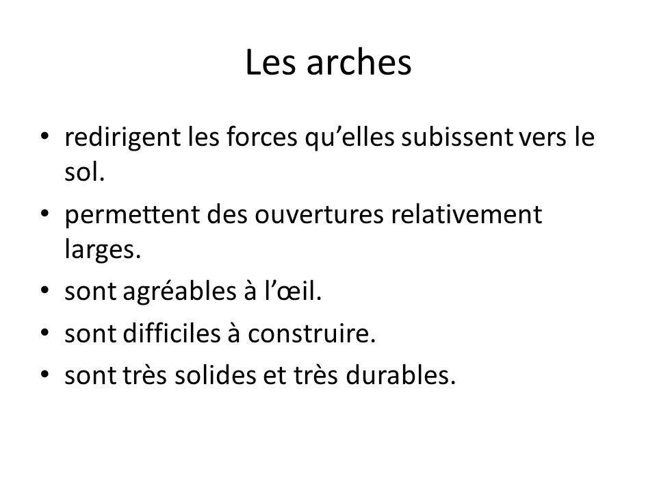 Les arches redirigent les forces quelles subissent vers le sol.