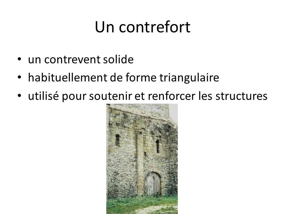 Un contrefort un contrevent solide habituellement de forme triangulaire utilisé pour soutenir et renforcer les structures